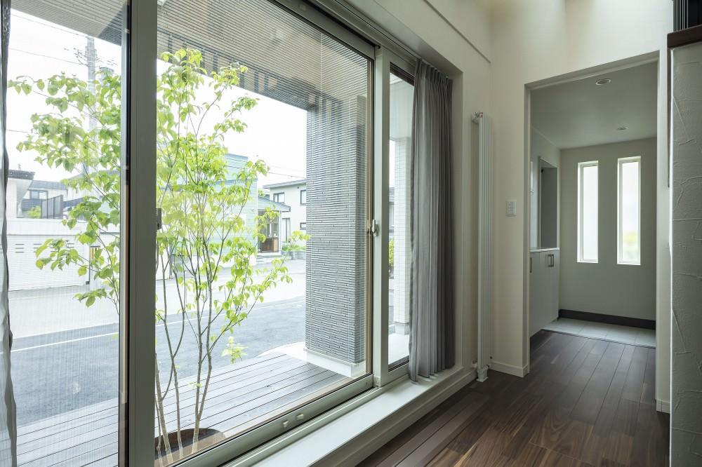 テラスが溶け込み、四季の移ろいと屋外との一体感が感じられる室内設計 -  -  -